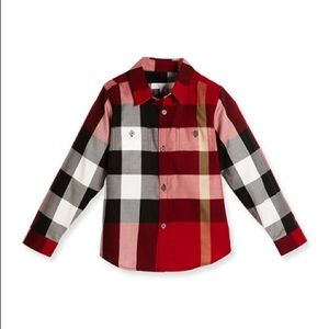 Burberry Kids Camber Check Sleeve Shirt Red 18M